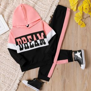 2-piece Kid Girl Letter Print Colorblock Hoodie and Pants Casual Set