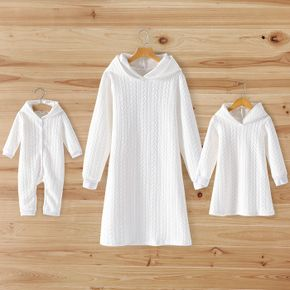 White Cable Knit Long-sleeve Hoodie Dress for Mom and Me