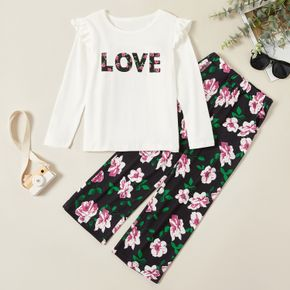 2-piece Kid Girl LOVE Flare-sleeve Long-sleeve Tee and Floral Allover Print Pants Set