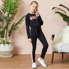 2-piece Kid Girl Letter Print Tie Knot Long-sleeve Tee and Colorblock Pants Set