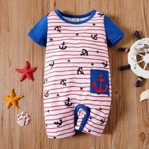 1pc Baby Boy Short-sleeve Stripe and Anchor Print Romper