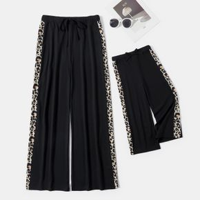Black and Leopard Splicing Casual Wide Leg Pants for Mom and Me