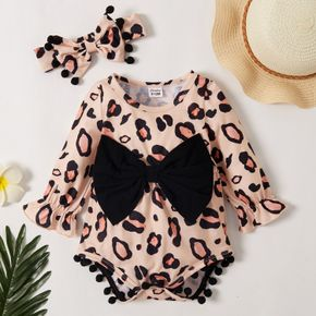 Baby Girl Bohemia Bowknot Pompon Decor Leopard Rompers with Headband