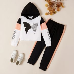 2-piece Kid Girl Butterfly Print Letter Hooded Sweatshirt and Pants Set