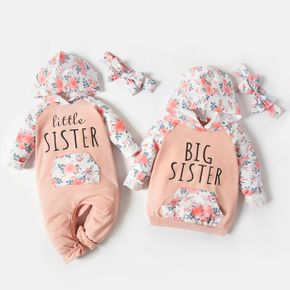 Letter and Floral Print Splice Hooded Long-sleeve Sibling Matching Pink Sets