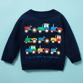 Baby / Toddler Boy Vehicle Letter Print Pullover