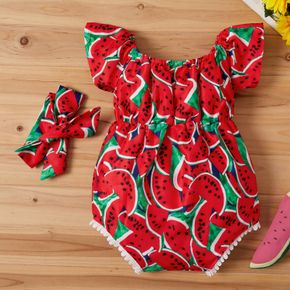 2pcs Watermelon and Pineapple Print Flutter-sleeve Baby Set