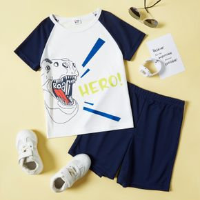 2-piece Kid Boy Letter Dinosaur Print T-shirt and Solid Shorts Sporty Set