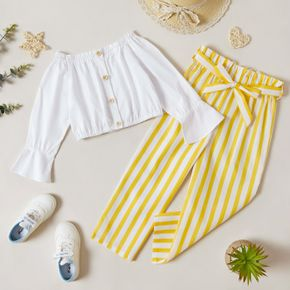 2-piece Kid Girl 100% Cotton Off Shoulder Bell sleeves Button Design White Blouse and Striped Paperbag Pants with Belt Set