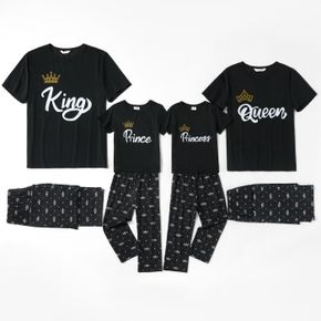 Mosaic Letter Print Family Matching Pajamas Sets(Flame Resistant)