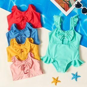 Toddler Girl Ruffled Bowknot Decor Solid Sleeveless Strap One piece Swimsuit