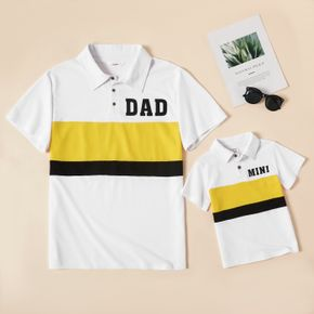 Letter Print Color Block Splice Short Sleeve Cotton Shirts for Dad and Me