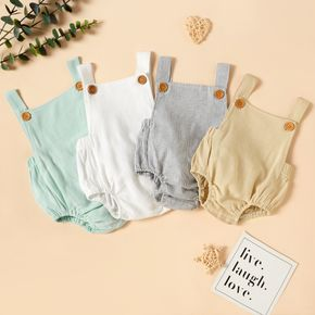 100% Cotton Solid Sleeveless Baby Romper