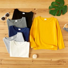 Toddler Casual Basic Solid Long-sleeve Tee