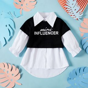 Letter Print Faux-two Design Long-sleeve White Baby Shirt Blouse