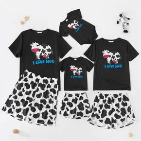 Cartoon Cow Pattern Family Matching Pajamas Sets(Flame resistant)
