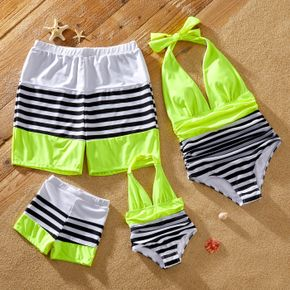 Stripe Print Family Matching Swimsuits