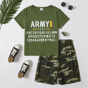 Stylish Kid Boy Letter Number Print Camouflage 2-piece Casual Set