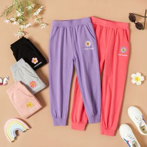 Toddler Girl Sweet Flower Embroidery Casual Pants with Pocket