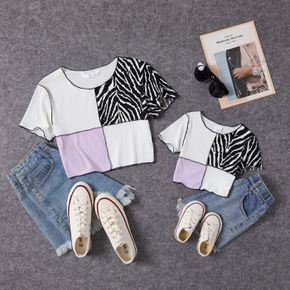 Color Block Splice Print Short Sleeve T-shirts for Mommy and Me