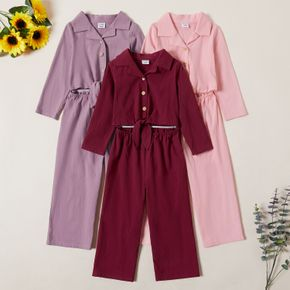 Toddler Girl Wide Trousers Solid Jumpsuits