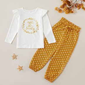 2-piece Kid Girl Letter Floral Print Ruffled Long-sleeve Tee and Polka Dots Bowknot Paperbag Pants Set