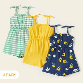 Fashionable Toddler Girl 3-piece Sleeveless Stripe Floral Print Jumpsuit