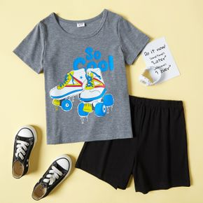 2-piece Kid Boy Letter Inline Skate Print T-shirt and Solid Black Shorts Casual Sporty Set