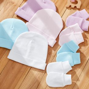 2-piece Baby Solid Anti-scratch Hat and Glove Set