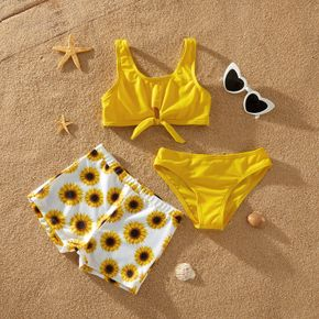 3-piece Kids Girl Bowknot Vest and Underwear and Sunflower Shorts Set