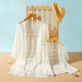 100% Cotton Lace Crochet Long-sleeve Matching White Cover Up