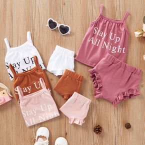 2pcs Baby Girl casual Letter Solid Summer Cotton Sleeveless Baby's Sets