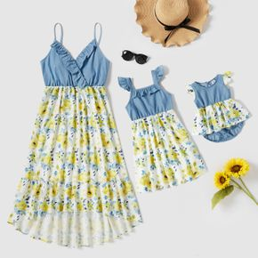 Blue Sleeveless Splicing Floral Print Ruffle Midi Dress for Mom and Me