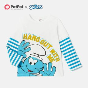 Smurfs Hang Out Striped Sleeve Cotton Tee
