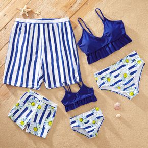 Stripe and Daisy Print Family Matching Swimsuits