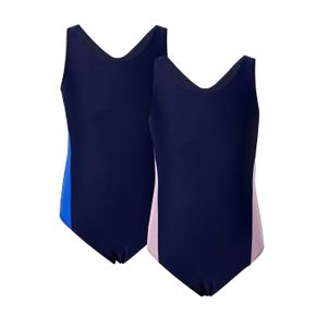 One-piece Color Contrast Athleisure Swimsuit for Kids
