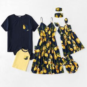 Tenues Assorties Costume Preppy Manche Courte Col Rond Type normal Citron