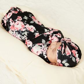Floral Print Baby Swaddle and Hat Set