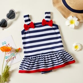 Strappy Stripe Bowknot Decor Baby Swimsuit