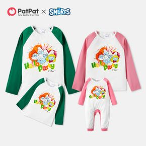Smurfs Hello Party Colorblock Family Matching Tops and Romper