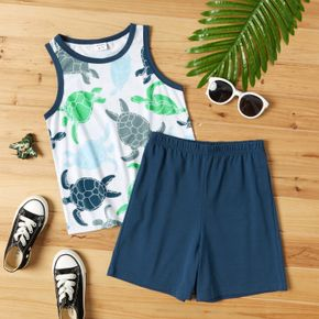 Stylish Kid Boy Animal Turtle Tank Top Solid Shorts Casual Suits
