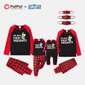Smurfs Christmas PRESENTS Family Pajamas Set and Face Mask(Flame Resistant)