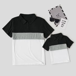 Colorblock Splice Print Short Sleeve Shirts for Dad and Me