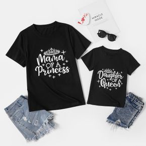 Queen & Princess Letter Print Black Short Sleeve T-shirts for Mom and Me