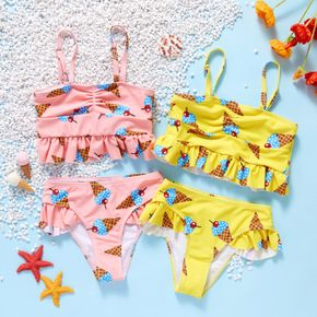 2-piece Toddler Girl Food Print Camisole and Briefs Swimsuit
