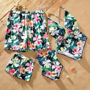 Floral Print Family Matching Swimsuits(One-piece Cross Back Swimsuits for Mom and GIrl ; Swim Trunks for Dad and Boy)