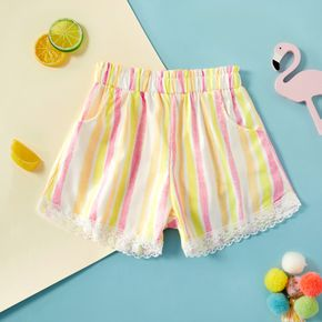 Baby / Toddler Girl Comfy Striped Lace Shorts