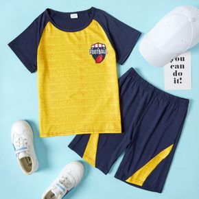 Football Print Color Block Tee and Shorts Athleisure Set for Toddlers/Kids