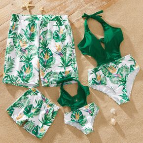 Family Look Back Cross Straps Floral Print Stitching One-piece Matching Swimsuits