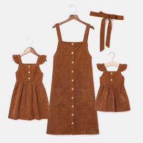 Solid Color Matching Brown Sling Mini Dresses